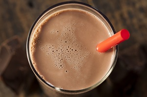 chocolate milk with straw